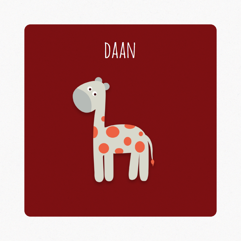 Geboortekaart   J   Giraffe 1