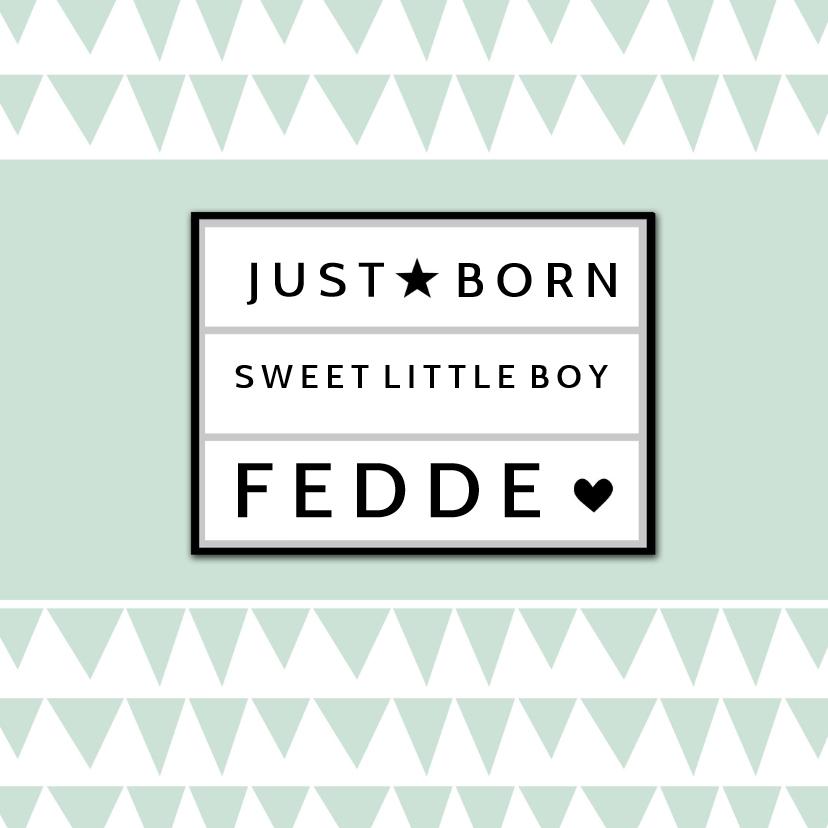 Geboortekaart lightbox mint - BC 1