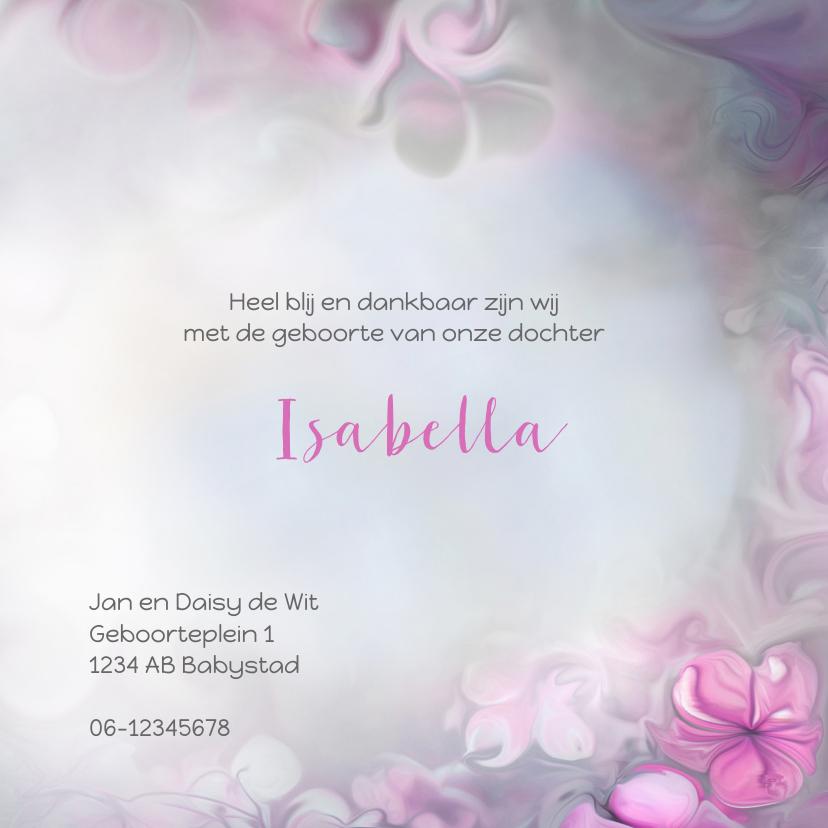 Geboortekaart meisje-bloemen 3