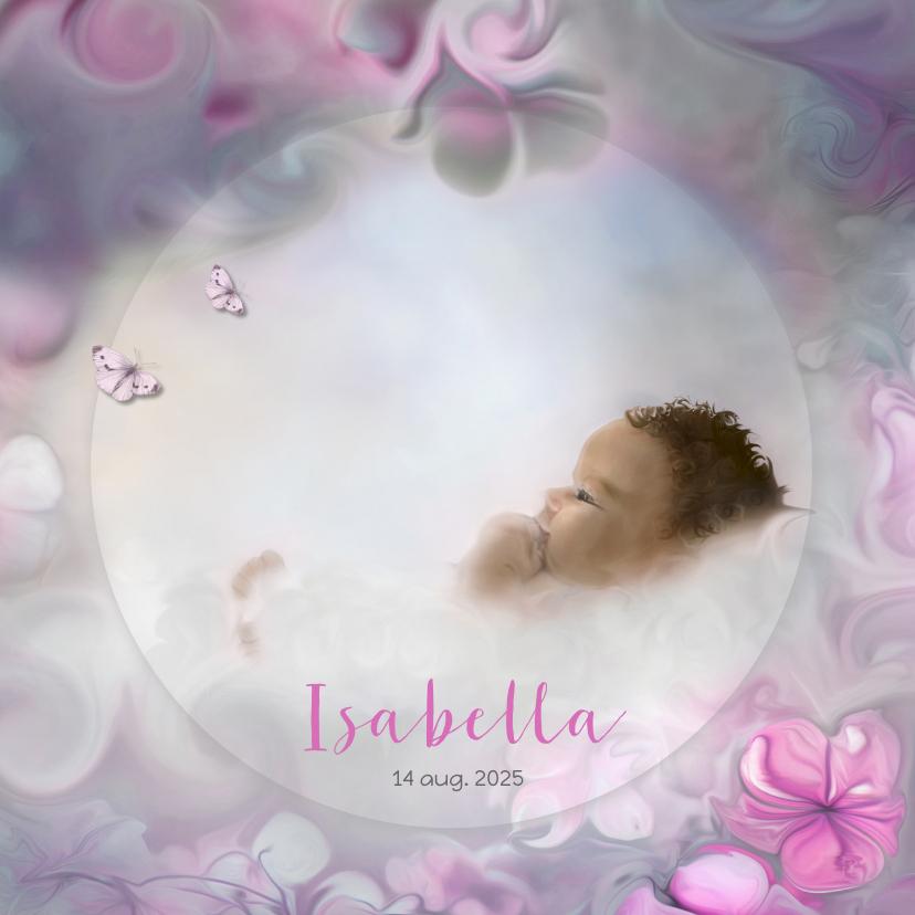 Geboortekaart meisje-bloemen 1