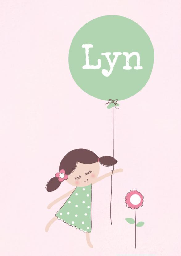 Geboortekaart Meisje en ballon 1