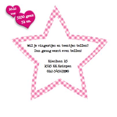 Geboortekaart meisje met sterren 2