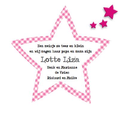Geboortekaart meisje met sterren 3