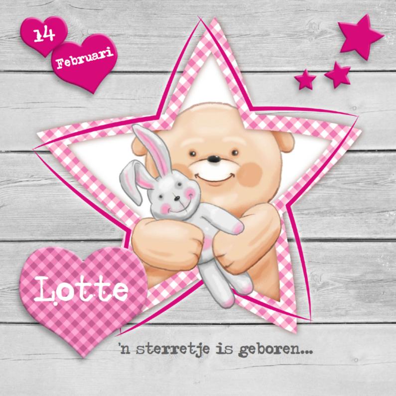 Geboortekaart meisje met sterren 1