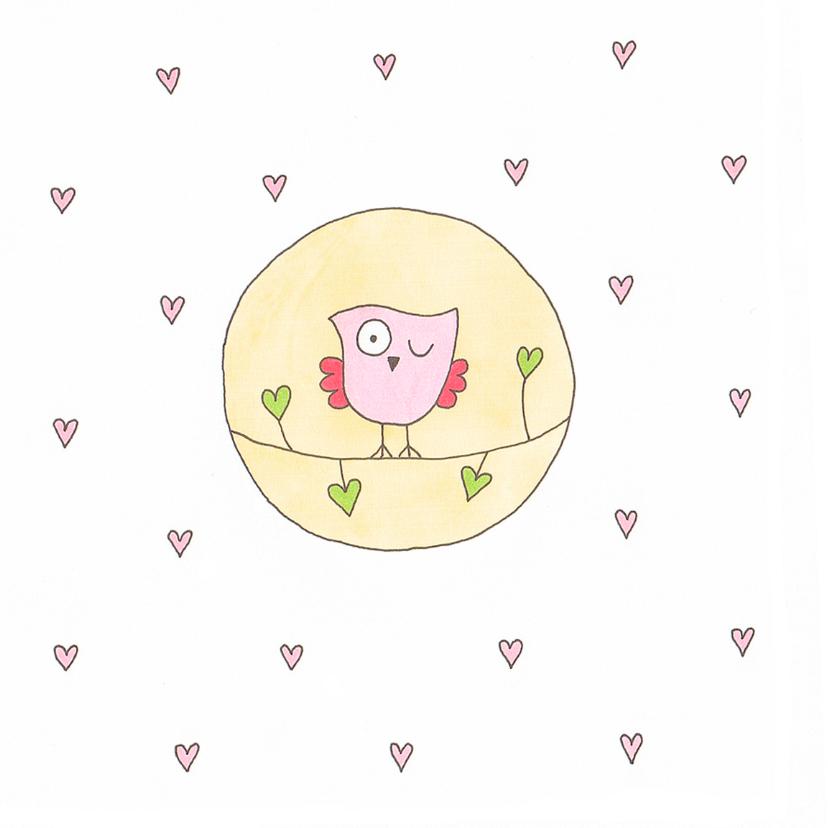 geboortekaart meisje uil cirkel 2