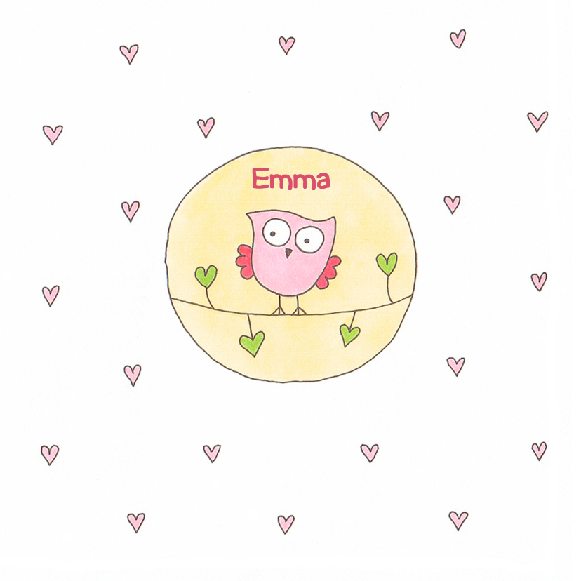 geboortekaart meisje uil cirkel 1