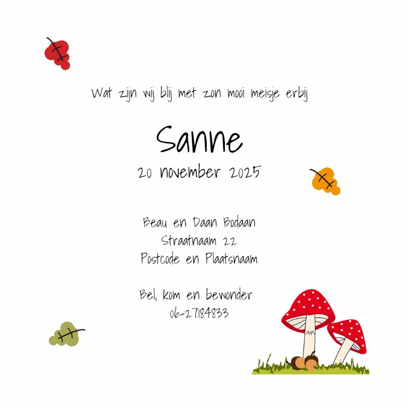 Geboortekaart paddenstoel meisje 3
