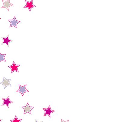 Geboortekaart Roze en paarse sterren 2