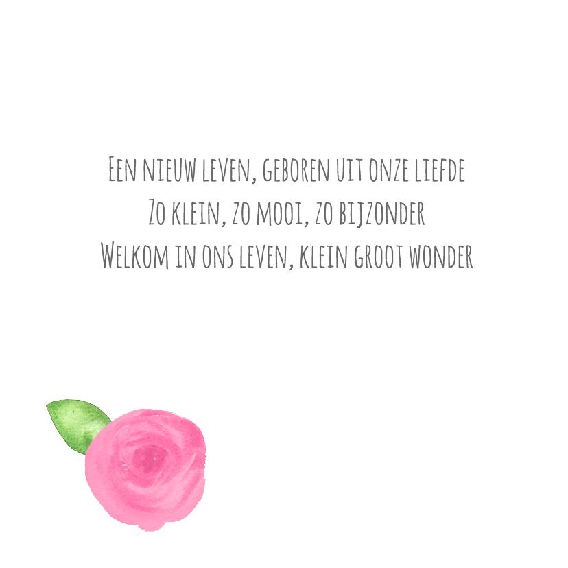 Geboortekaart rozen en blaadjes 2