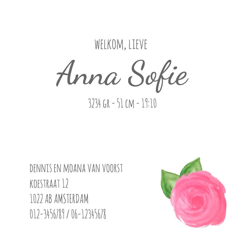 Geboortekaart rozen en blaadjes 3