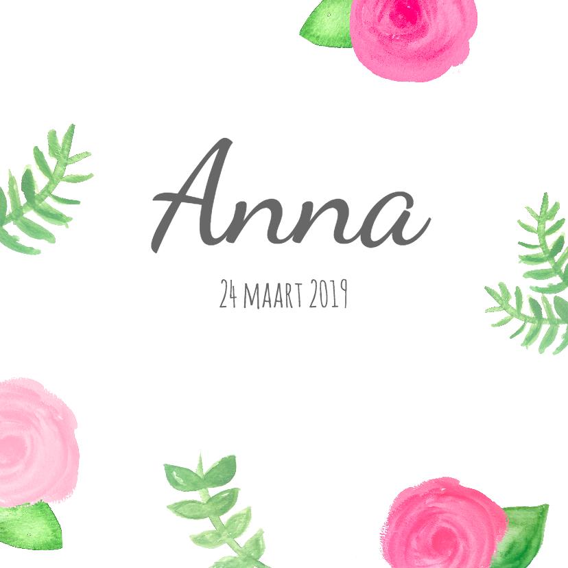 Geboortekaart rozen en blaadjes 1