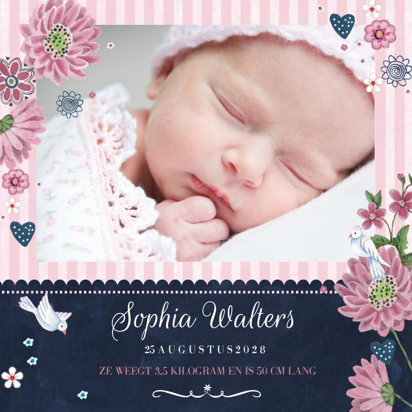Geboortekaart Schoolbord bloemen 1