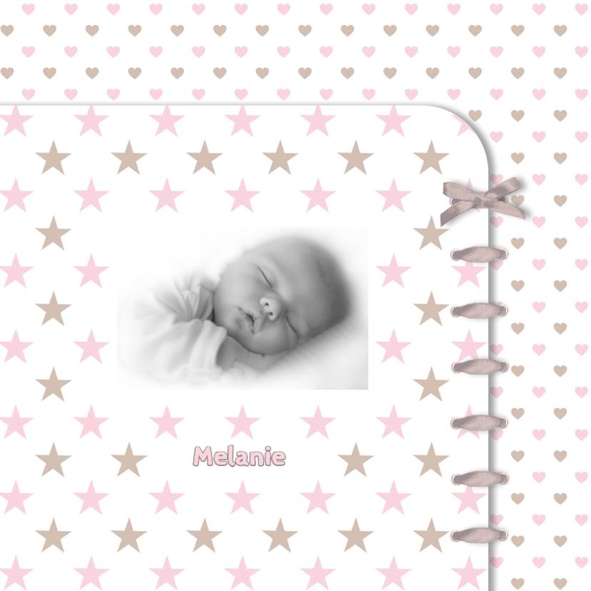 Geboortekaart ster-hart roze 1