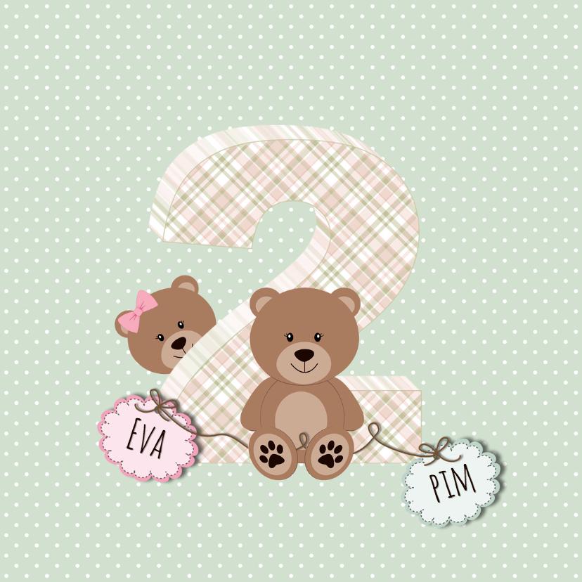 Geboortekaart tweelingberen 1
