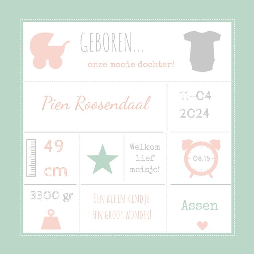 Geboortekaart typografie roze-BC 1