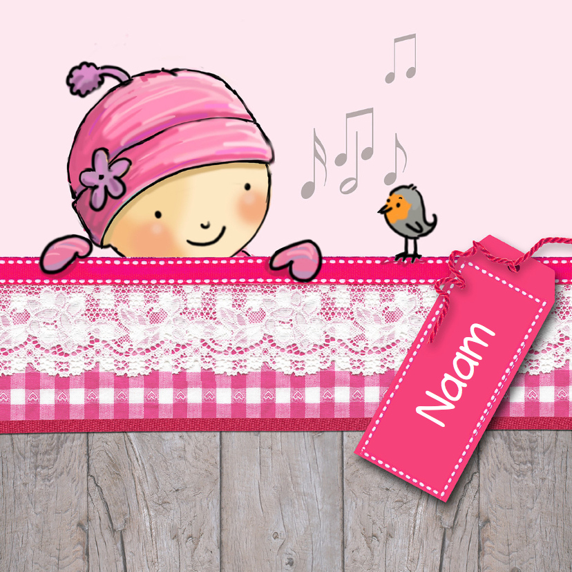 Geboortekaart wintermeisje roze 1