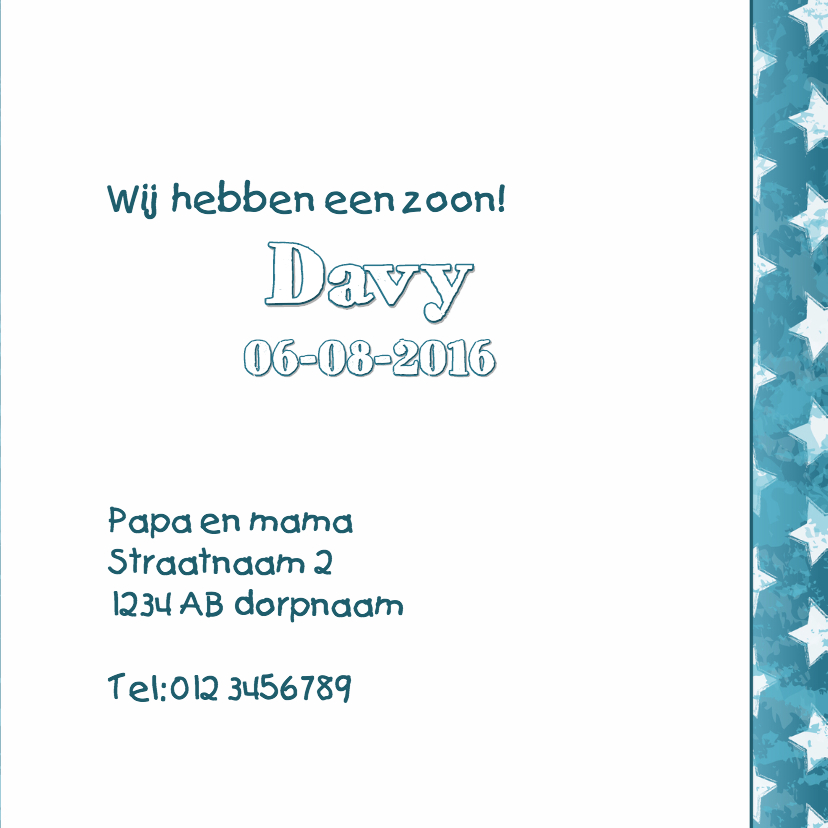 Geboortekaartje aapje aqua blauw 3