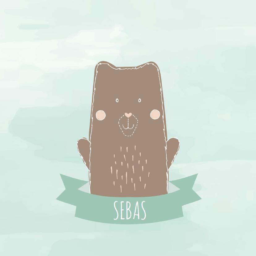 Geboortekaartje beer met banner  1