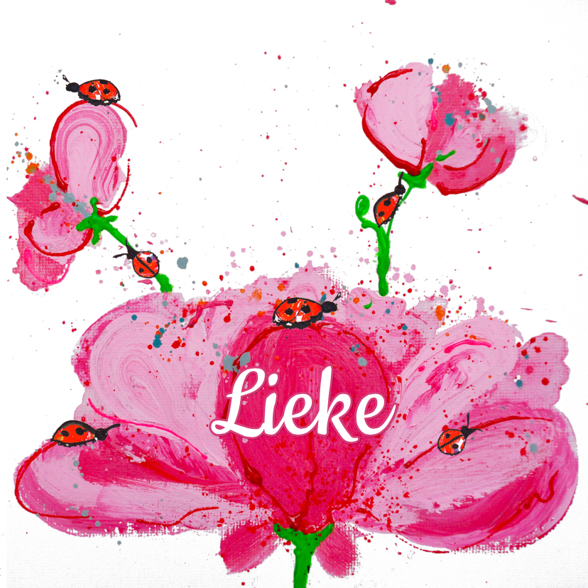 geboortekaartje bloem lief 1