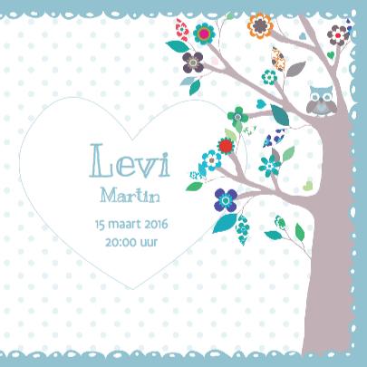 Geboortekaartje BloemenBoom Uil  3