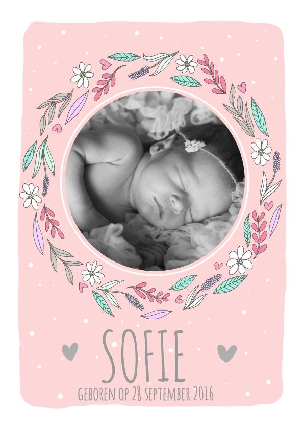 Geboortekaartje bloemetjes - RG 1