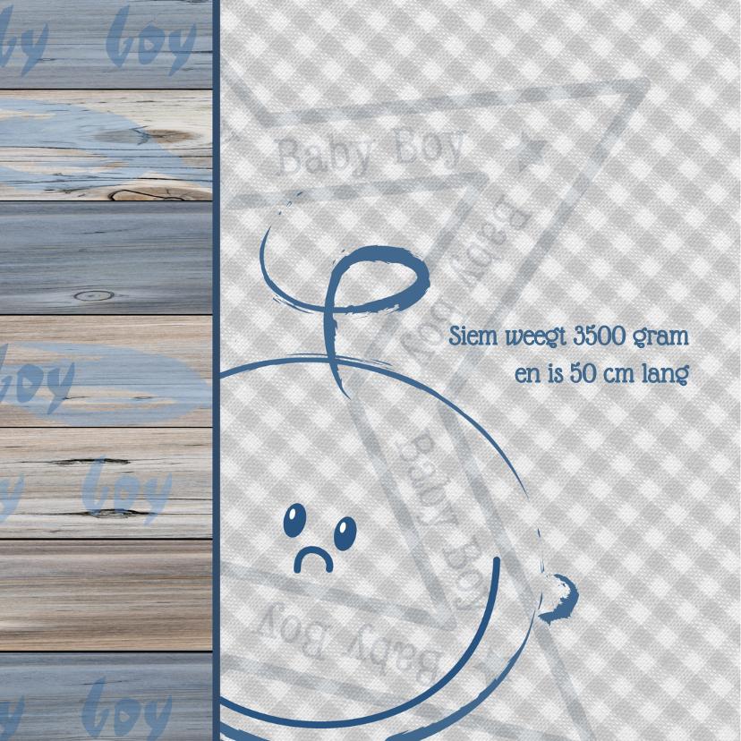 geboortekaartje BOY ruit hout  2