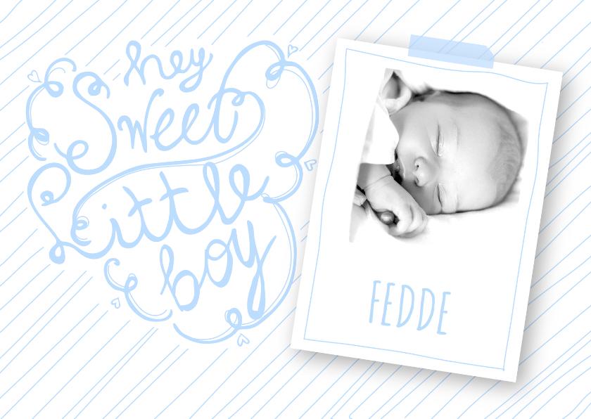 Geboortekaartje boy tekst foto 1