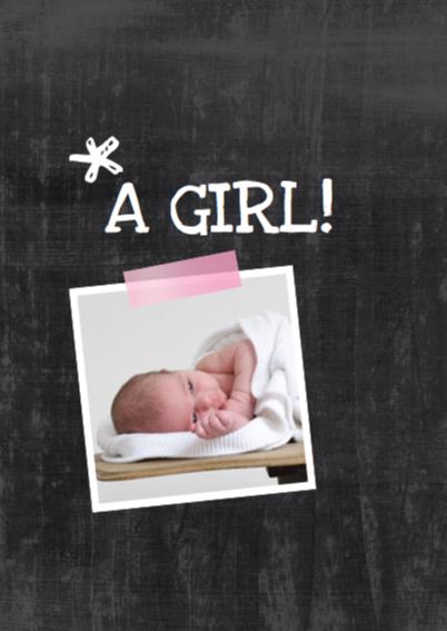 Geboortekaartje chalkboard Evy 2