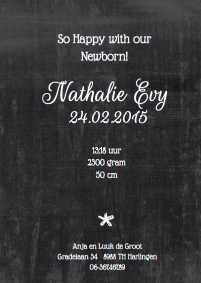 Geboortekaartje chalkboard Evy 3