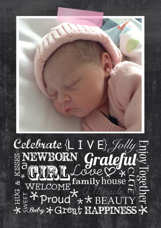 Geboortekaartje chalkboard Evy 1