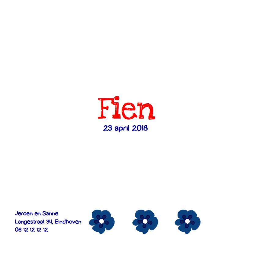 Geboortekaartje Delftsblauwe tegel bloem 3