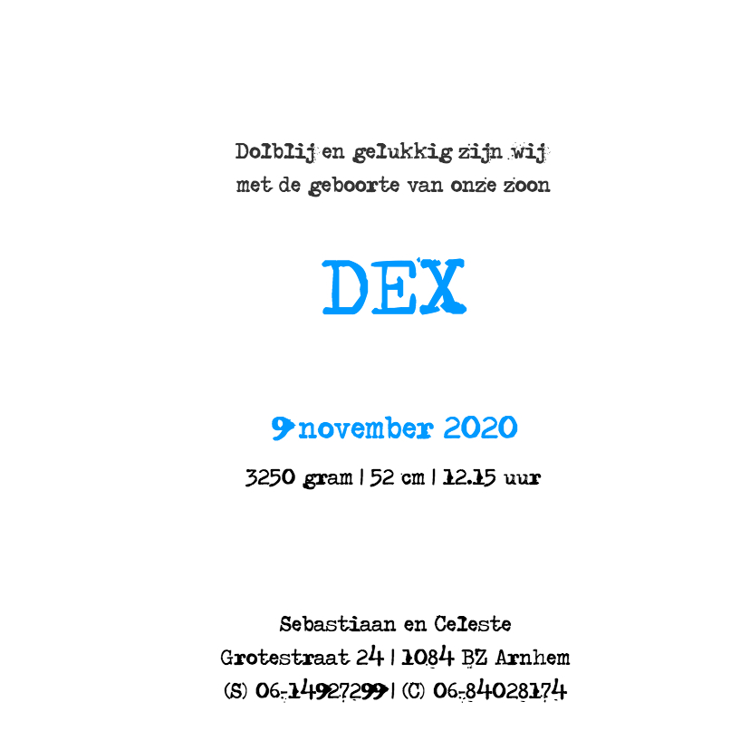 Geboortekaartje Dex 3