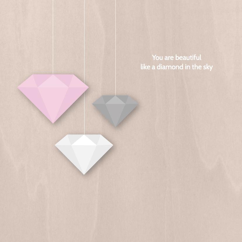 Geboortekaartje diamanten roze 2