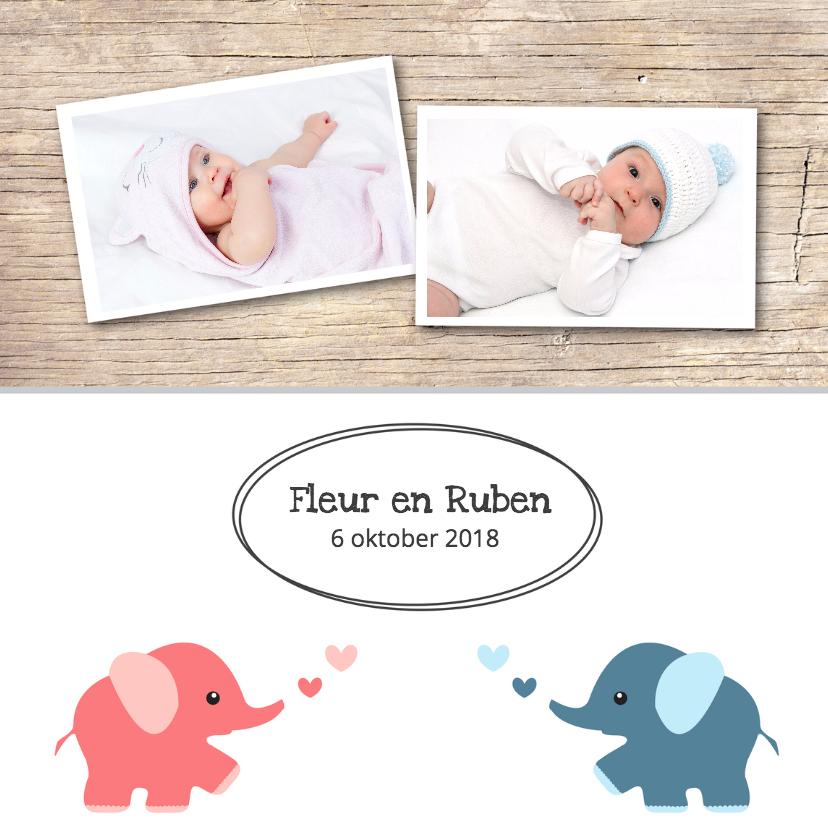 Geboortekaartje Fleur en Ruben 1