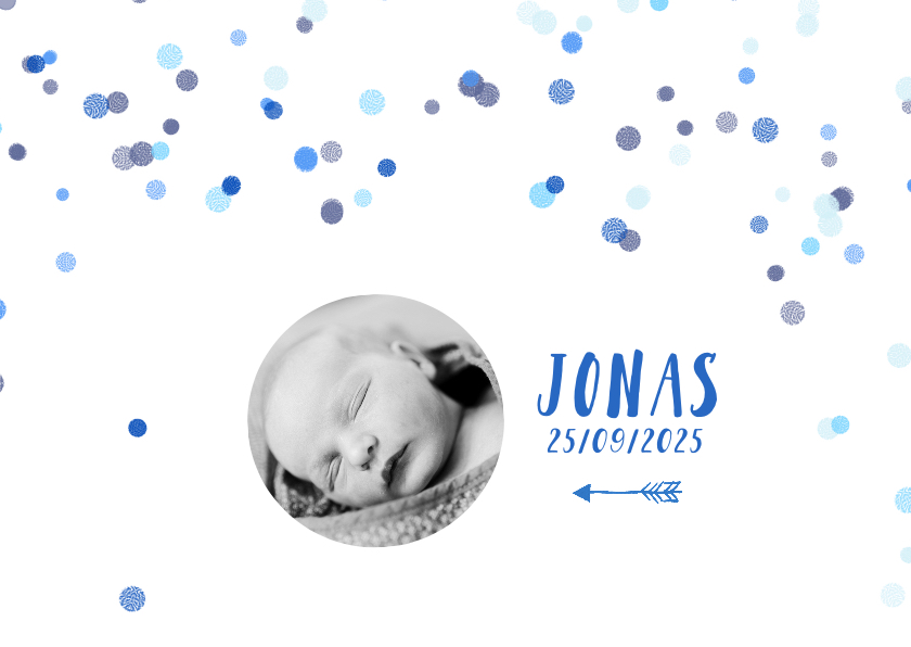 Geboortekaartje foto stip jongen 1