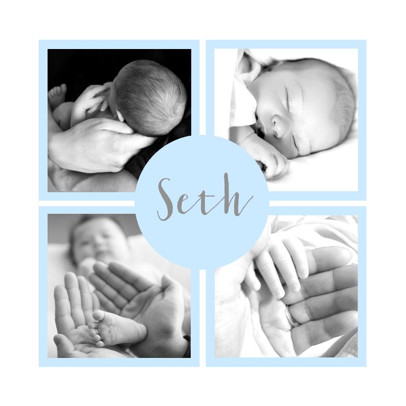 Geboortekaartje fotovakjes blauw 1