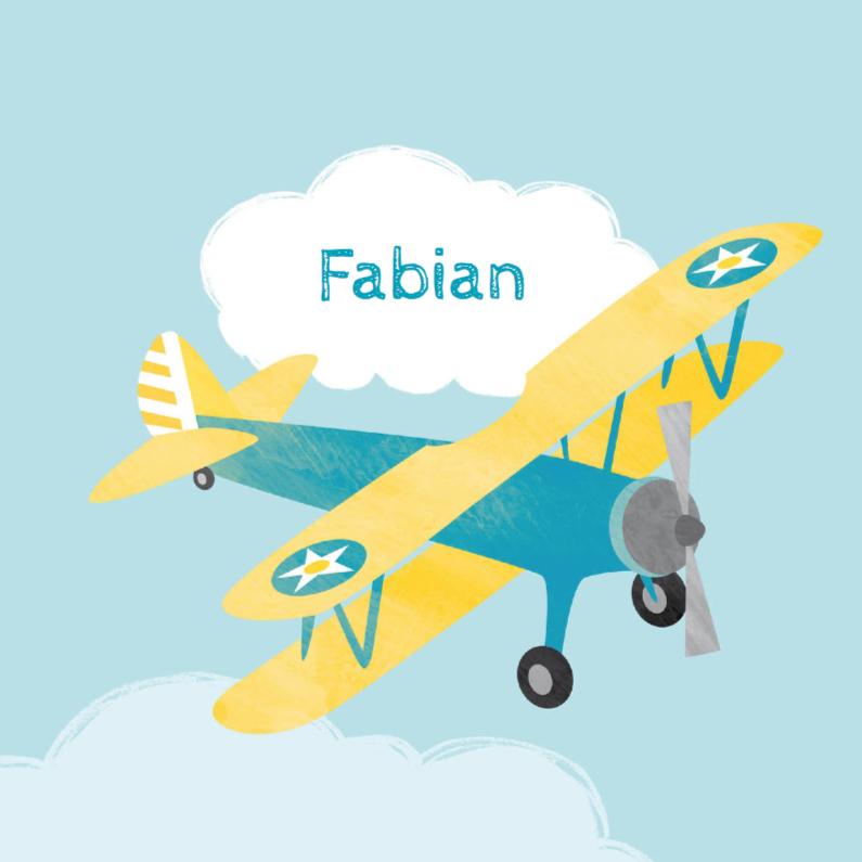 Geboortekaartje geel vliegtuig 1