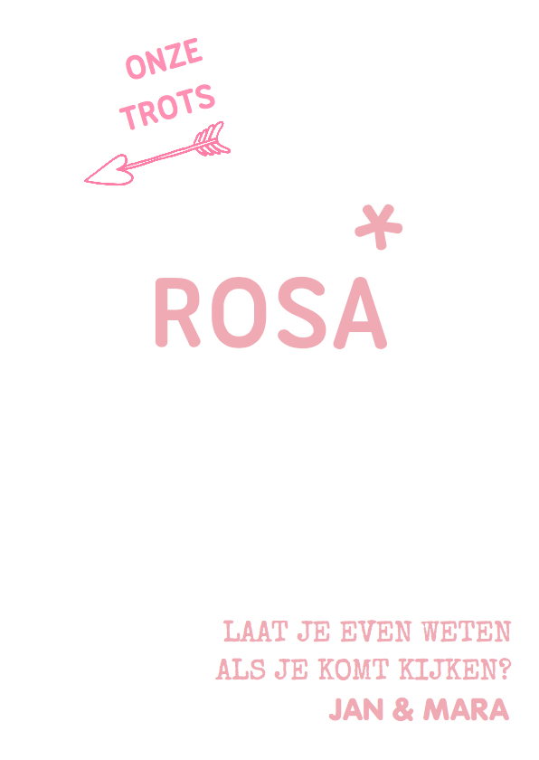 Geboortekaartje Grafisch Rosa 3