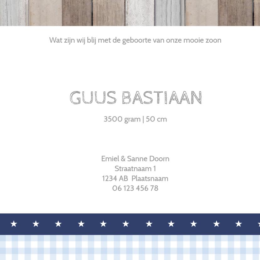 Geboortekaartje Guus hout labels 3