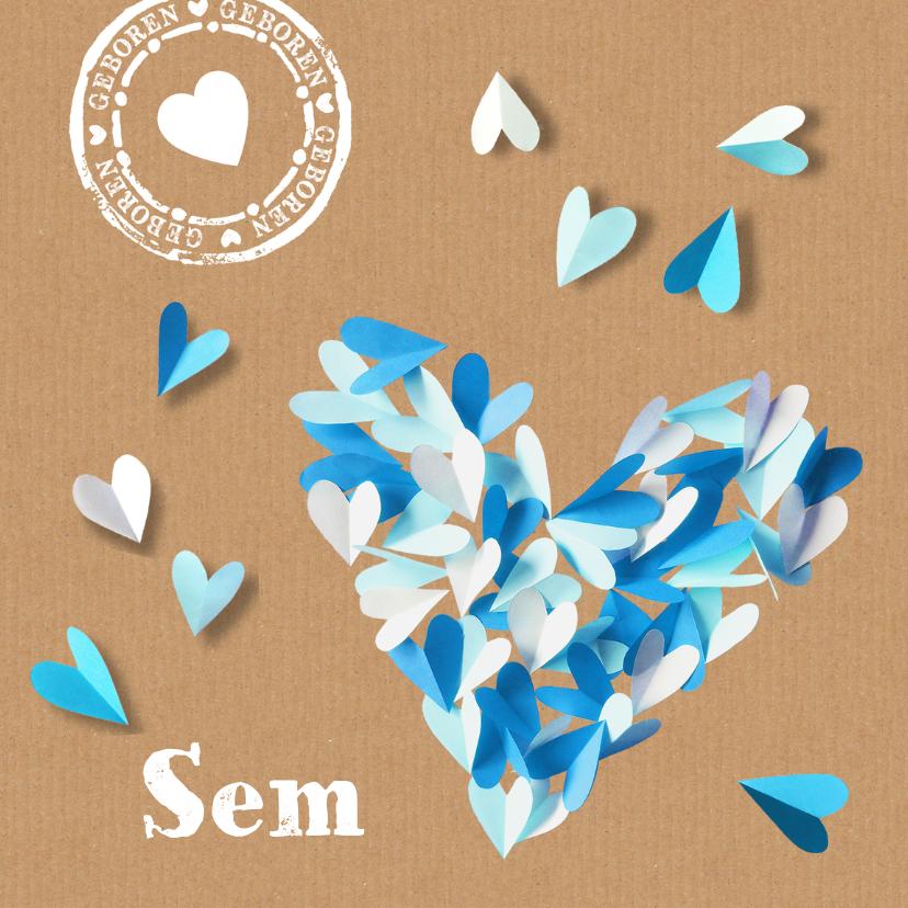 Geboortekaartje harten papier 1