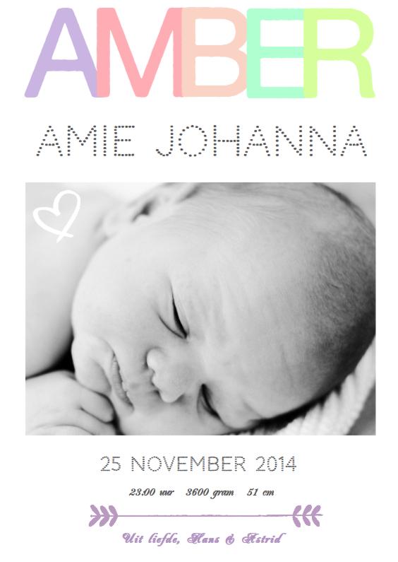 Geboortekaartje hip Amber 1