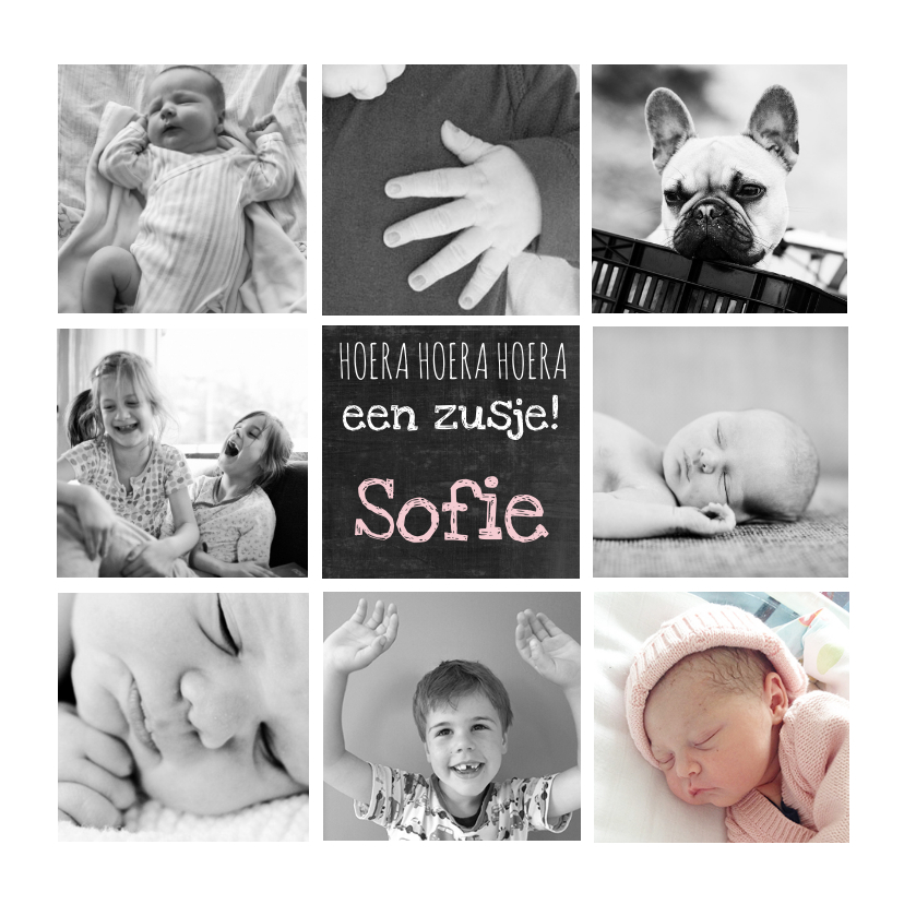 Geboortekaartje hip foto collage 1