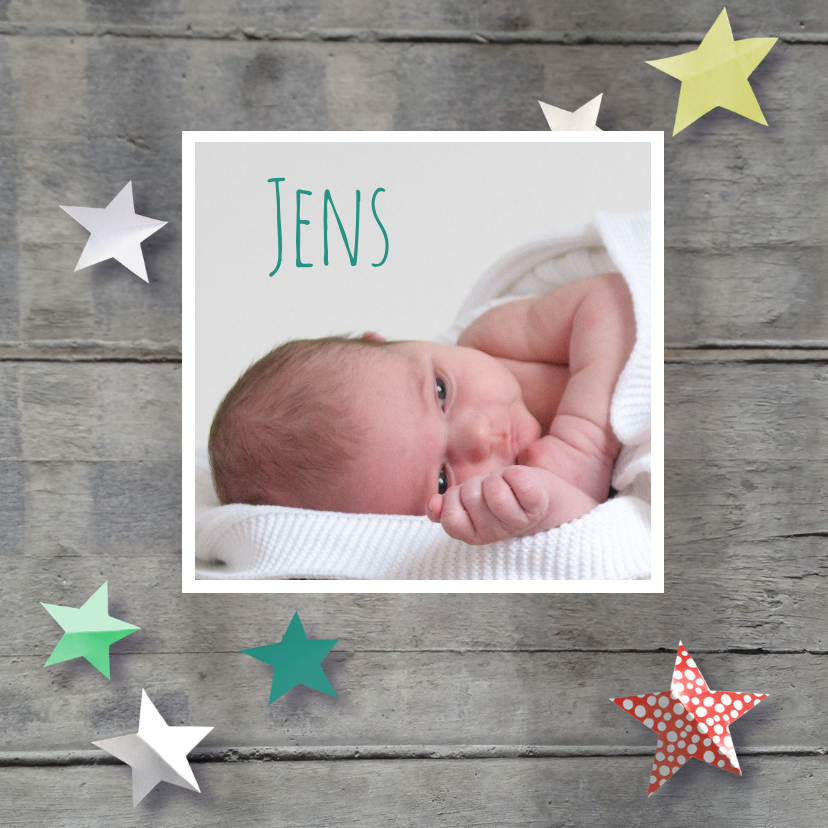 Geboortekaartje hip hout ster 1