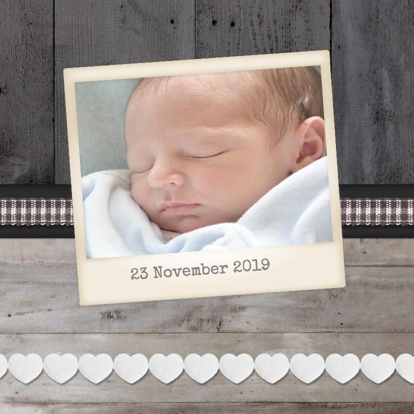 Geboortekaartje Hout Grijs2 1LS3 2