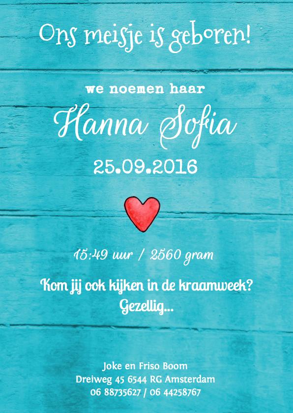 geboortekaartje hout Hanna 1