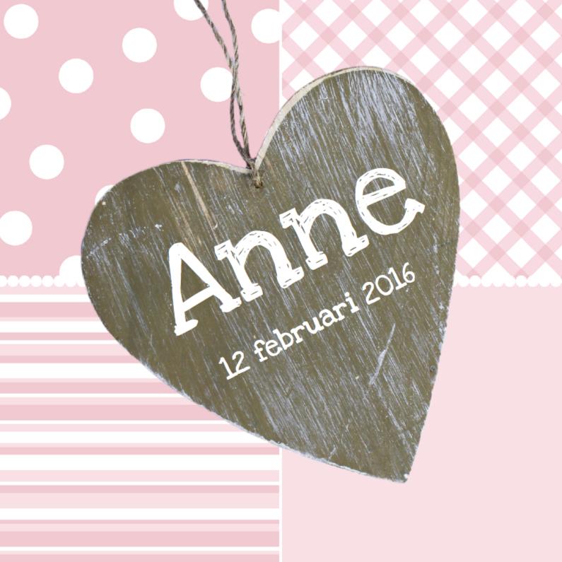 Geboortekaartje Houten hart roze 1