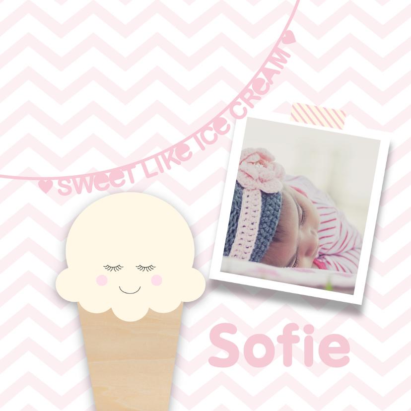 Geboortekaartje ijsje roze  1