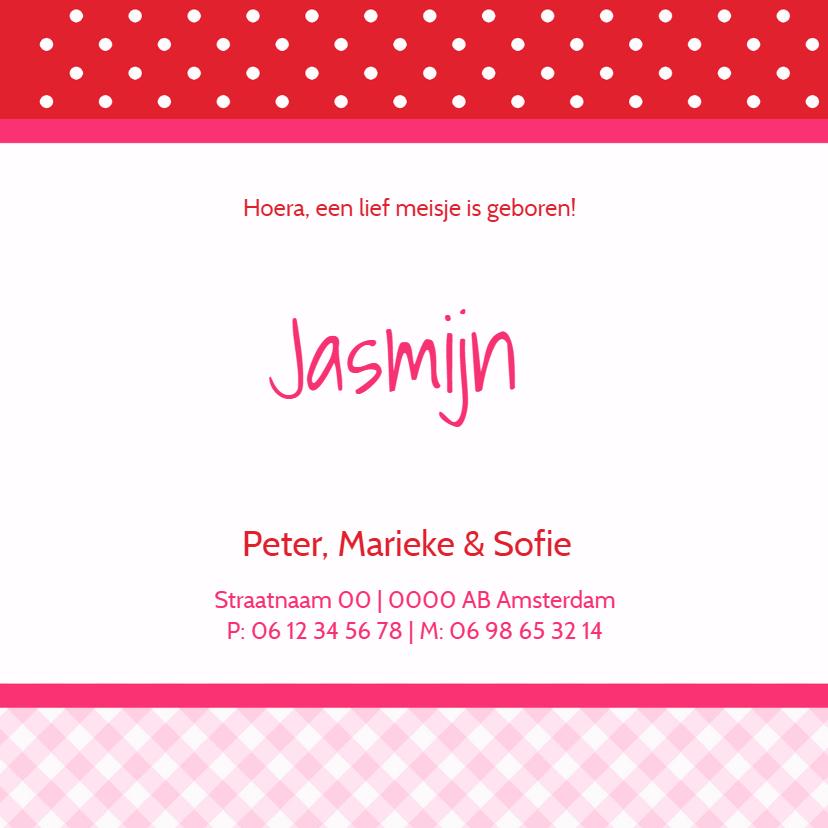 Geboortekaartje Jasmijn roze RS 3