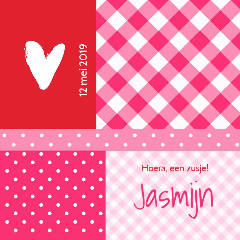 Geboortekaartje Jasmijn roze RS 1