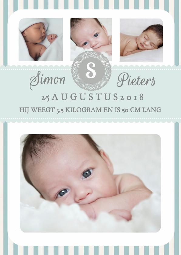 Geboortekaartje Jongen Strepen  1